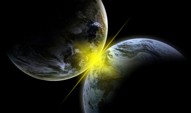 two planets on collision